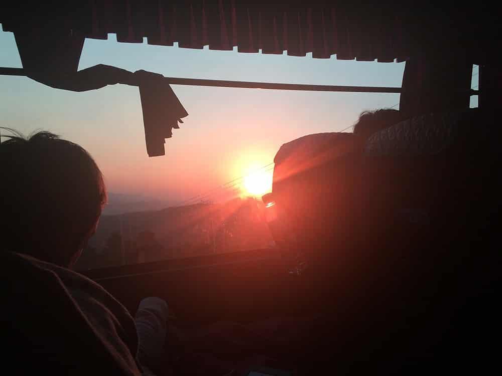 Vista do ônibus de Luang Prabang